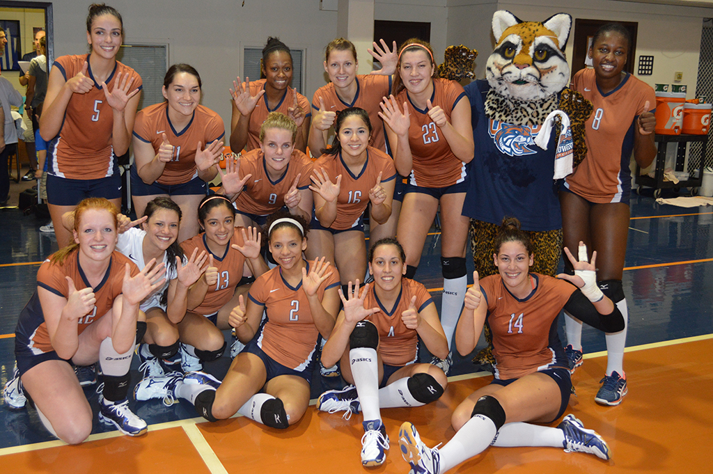 UT-Brownsville's volleyball squad celebrates its sixth straight RRAC title.