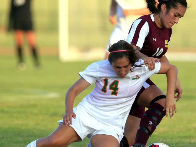 Huston-Tillotson's Christina Montealvo (#10) scored a goal and assisted on two others in a victory over SAGU last week.