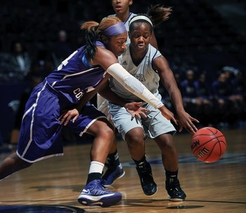Wiley's Aliesha Carruthers (left) led Wiley to a 20-2 conference mark this season.